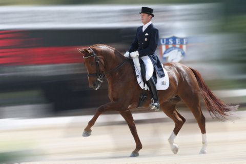Guenter Seidel riding at international competition